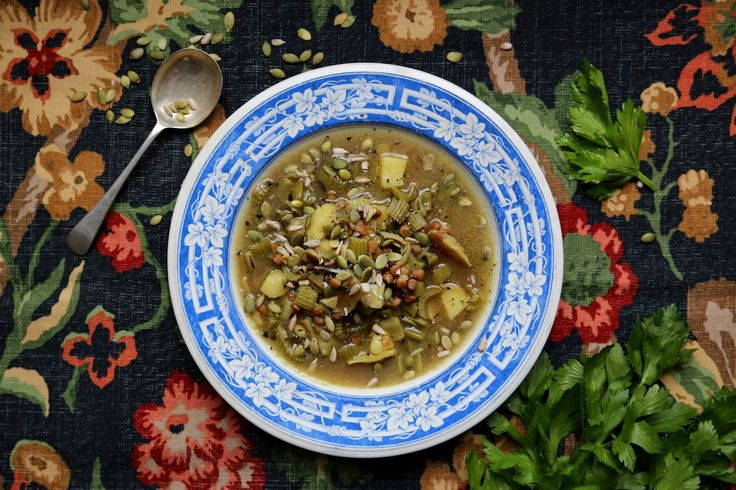 petite kitchen: CELERY & LENTIL SOUP WITH SAGE & TOASTED SEEDS