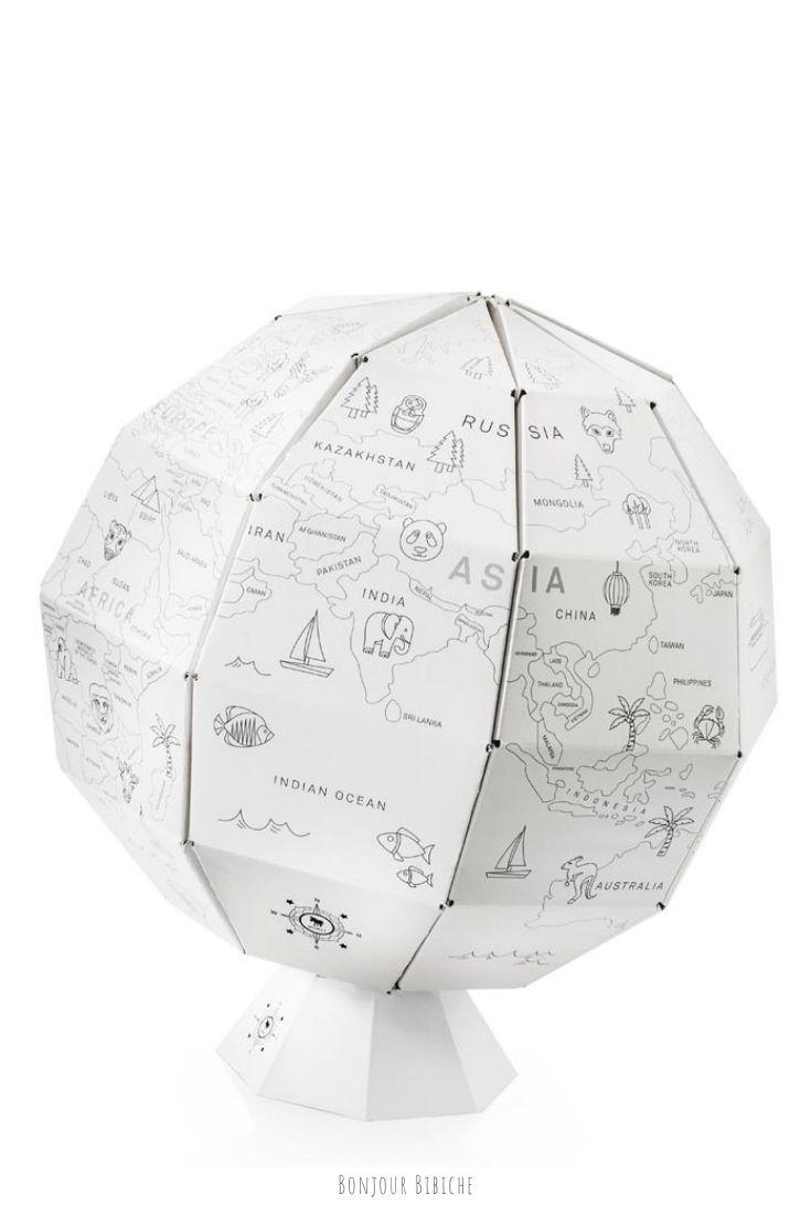 Globe terrestre à colorier   Mappemonde, Colorier, Globe