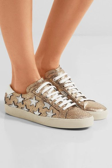 Saint Laurent - Court Classic Appliquéd Metallic Cracked-leather Sneakers - Gold - IT38.5