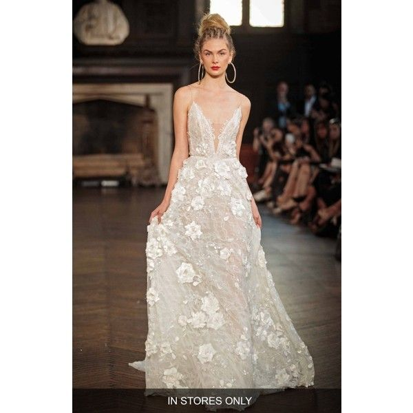Women's Berta V-Neck Applique A-Line Gown (111 960 ZAR) ❤ liked on Polyvore featuring dresses, gowns, ivory, floral dresses, v neck gown, floral a line dress, backless evening dresses and ivory evening gown