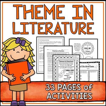 "Teaching ""Theme"" to the intermediate grades can be difficult.  This colorful, fun space-themed pack makes it super easy and enjoyable! The huge 33 page package includes everything you need for a complete unit on Theme in Literature: Theme Poster: Both in color for classroom display and in black and white for use in Reading Journals or as handouts. Theme Labels:  8 labels of common themes in fun fonts.  Both in color and black and white for student use. ..."