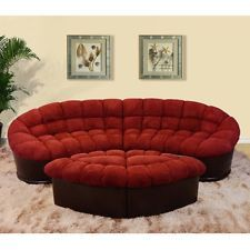 Round Burgundy Microfiber Fabric Sofa Ottoman Maroon Couch Sectional Furniture