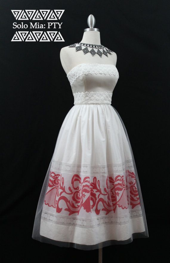 CARMEN Tea Length White and Red Pollera Print Skirt by Mia2315