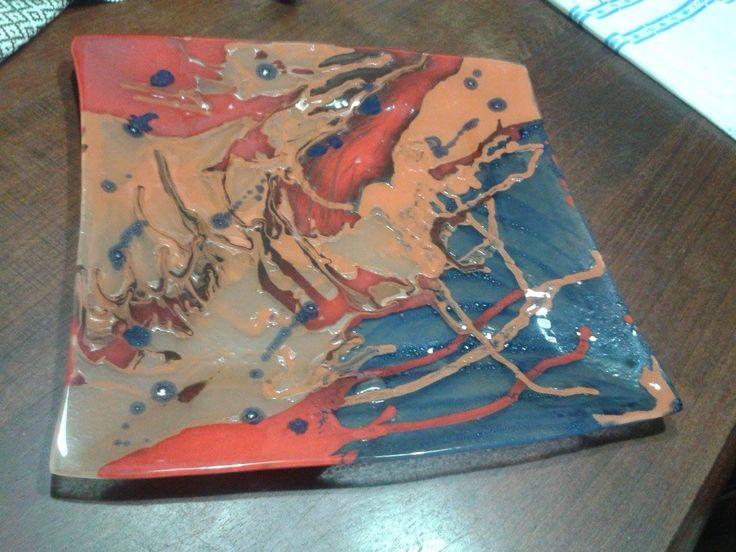 Centro de Mesa o Fuente (apta para alimentos , pintada entre vidrios)