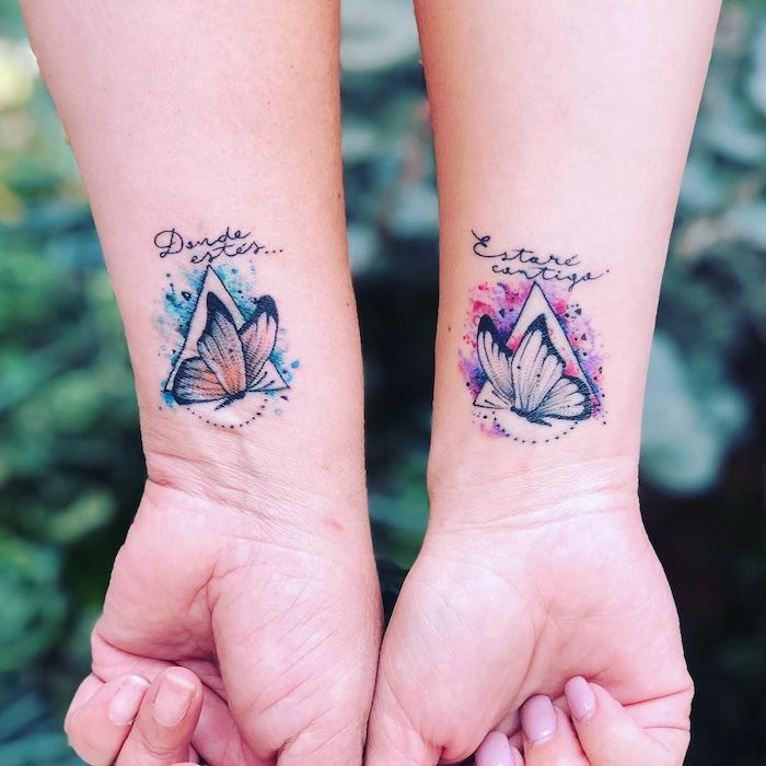 Watercolor Butterflies Wrist Tattoos Daughter Tattoos Triangles Pink Blue Tattoos For Daughters Mom Daughter Tattoos Mommy Daughter Tattoos