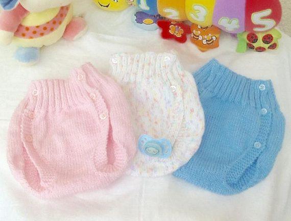 Culotte bébé 6/12 mois laine tricot, cache-couche, couvre-couche, layette
