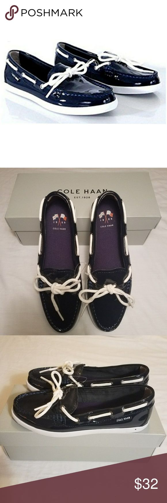 Cole Haan Nantucket Moccasin Navy patent shoe, perfect for summer, NIB. Cole Haan Shoes Moccasins