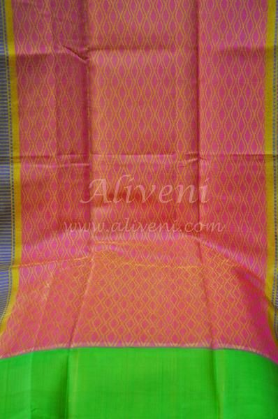 Yellow Kuppadam Tissue Saree with Roses/Leaves Pattern all over - Aliveni  - 5