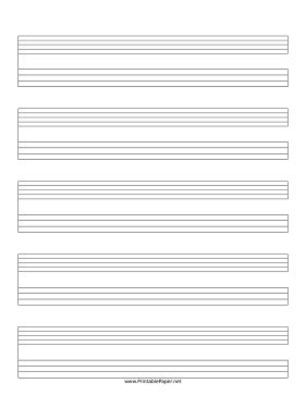 This Staff and Tablature music paper includes five systems of a five-line music staff and a four-line tablature notation area and may be useful for musical transcription and other purposes. Free to download and print