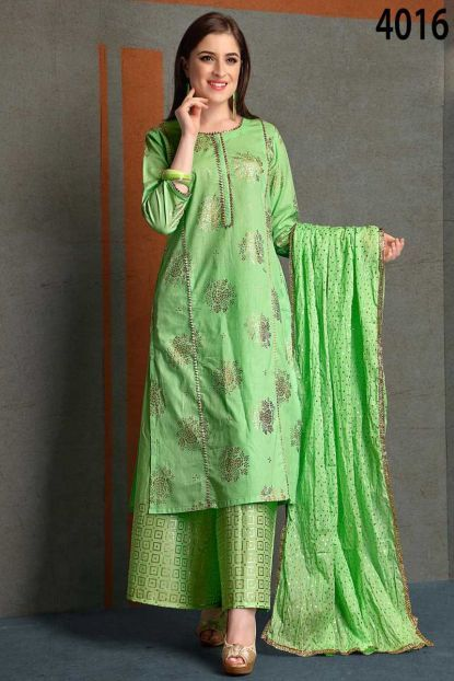 f3ff937aa0073 Green Event Wear Foil Print Cambric Cotton Salwar Suit With Palazzo Style  Bottom And Dupatta Catalog
