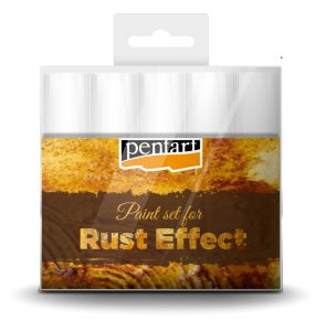 Rust effect paint set // You can create realistic rust effect by the products in the set. Apply the paints on the surface, change shades from light to darker to achieve the required effect. Blur the edges of the paint spots by a wet brush. Spread 3D powder to the still wet surface and push it to the paint surface by the brush.