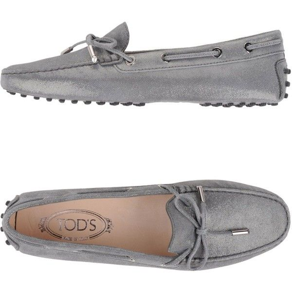 Tod's Moccasins (395 BGN) ❤ liked on Polyvore featuring shoes, loafers, grey, real leather shoes, bow shoes, grey shoes, leather moccasins and leather shoes
