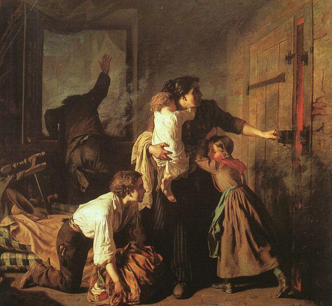 'The Fire' - Alexandre Antigna (1817-1878) [Public domain],