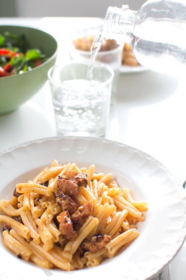 Pasta carbonara med chorizo