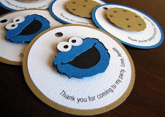 Cookie Monster Party Favor Tags Cookie Monster by ScrapYourStory