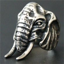 2 unids/lote tamaño 7-13 de Cabeza de Elefante Fresco Anillo de Acero Inoxidable 316L Joyería de Moda Estilo Punky Anillo de Los Hombres(China (Mainland))