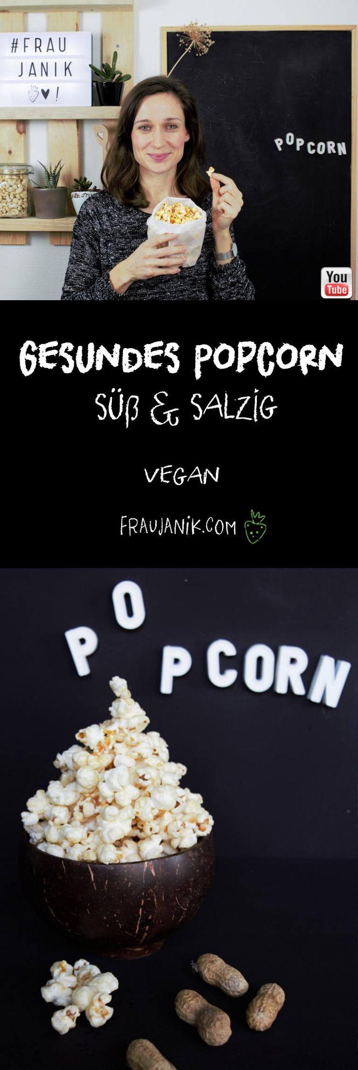 Gesundes Popcorn selber machen |  Süß & Salzig | vegan Wie im Kino nur besser & gesünder... #popcorn #gesundbacken #gesundespopcorn #ohnezucker #zuckerfrei #gesund #vegan #veganpopcorn #gesunderezepte #fraujanik