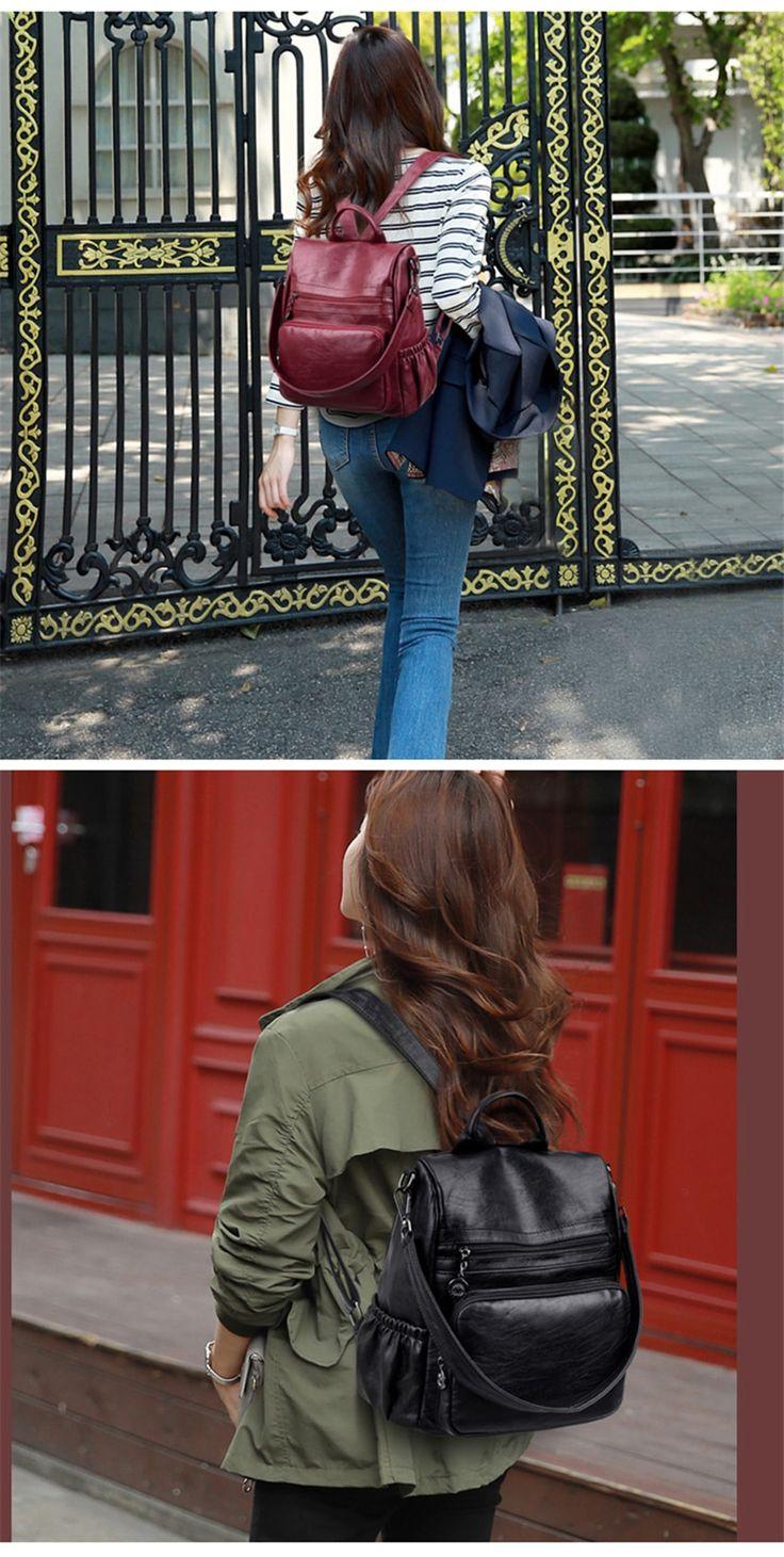 Casual Women Backpack Leather Backpacks For Teenage Girls Female School Bag Shoulder Bag Bagpack Mochila