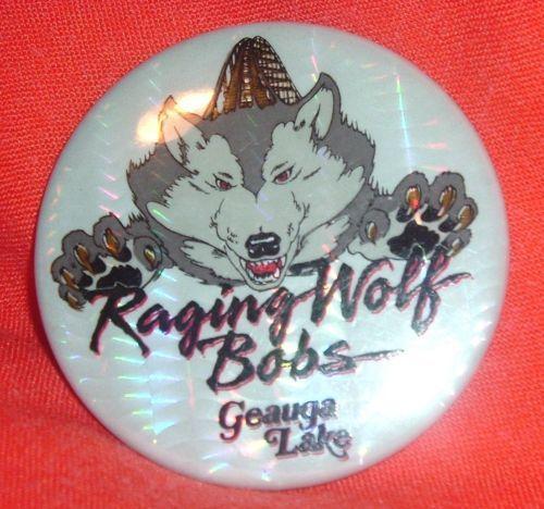 Vintage Raging Wolf Bobs Roller Coaster Pinback Geauga Lake Amusement Park Ohio | eBay