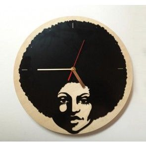 Afro on wood Clock