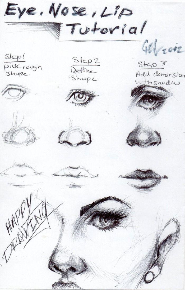 Tutorial für Auge, Nase und Lippen. Es liegt im Schatten
