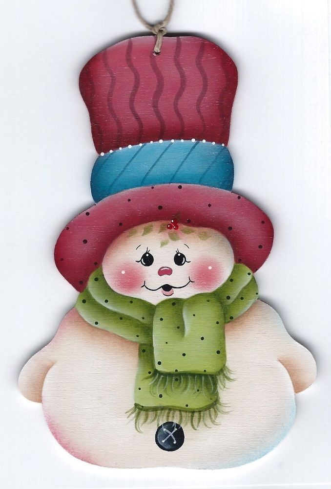HP SNOWMAN with Big Hat ORNAMENT #Handpainted