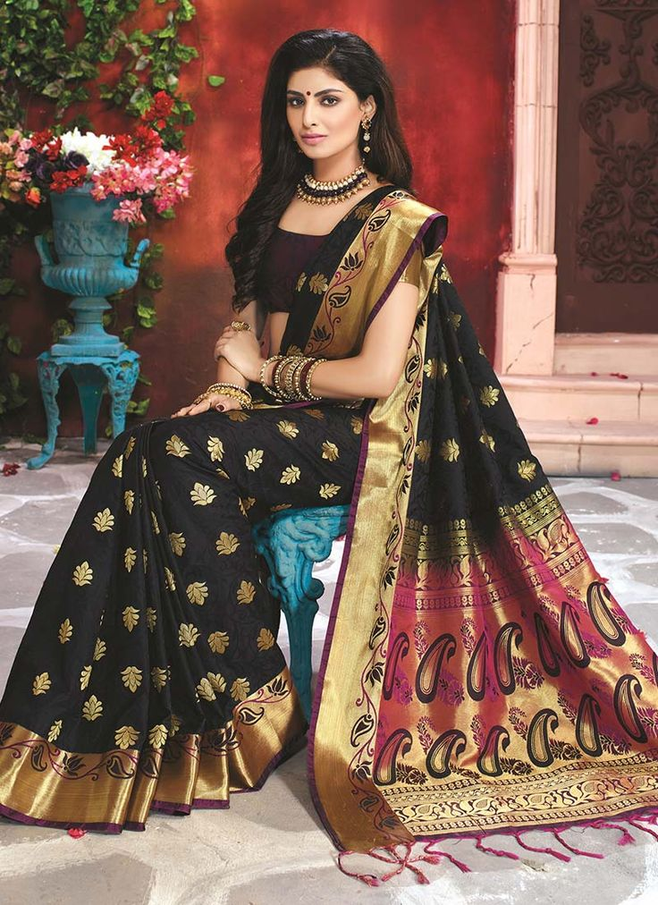 Buy Black Art Silk Saree online from the wide collection of sari. This Black colored sari in Art Silk fabric goes well with any occasion. Shop online Designer sari from cbazaar at the lowest price.
