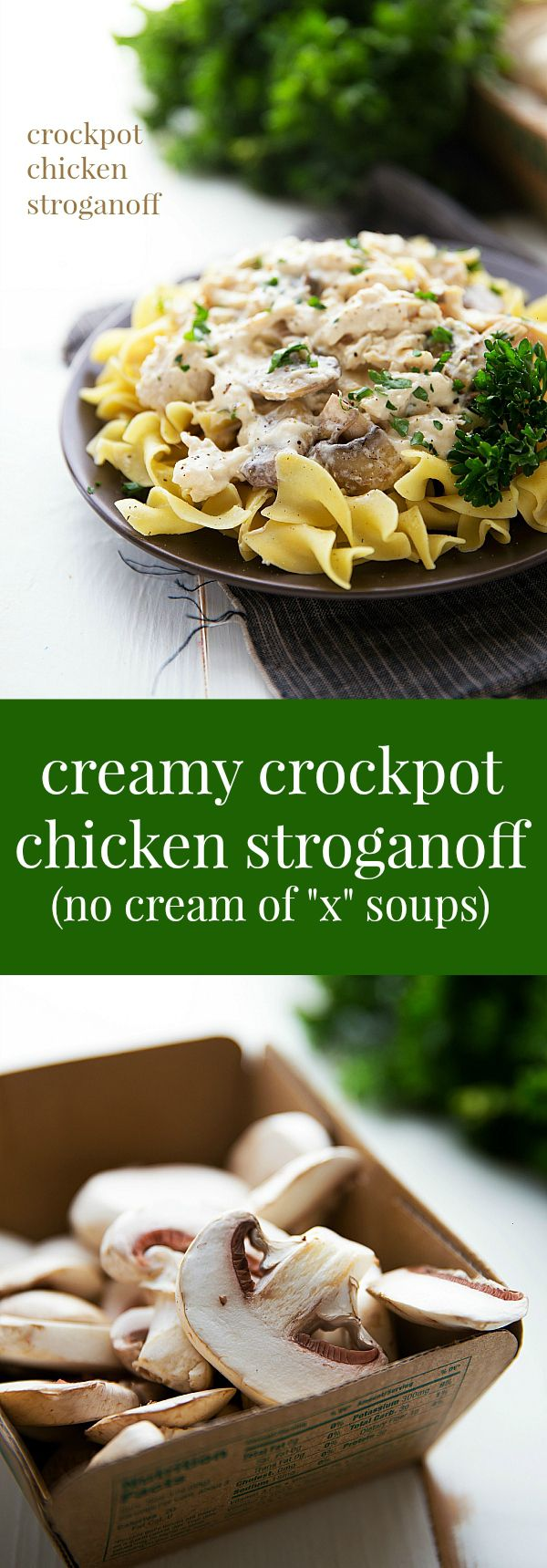 Simple Slow Cooker Chicken Stroganoff with NO cream of x soups!