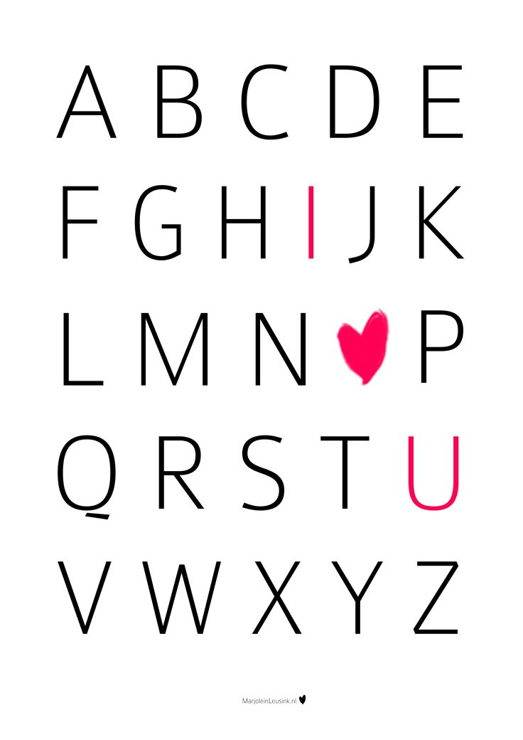 poster ABC I love you Print free quote, text