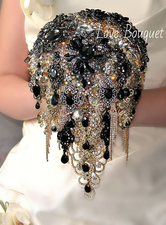 Black Brooch Bouquet, Cascading Black and Gold Silver Wedding Bouquet, Bridal Bouquet, Jewelry Bouquet, Crystal Gothic Wedding Bouquet