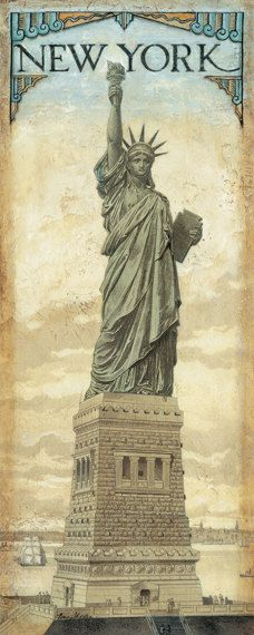 Estatua de la libertad Nueva York 8 x 20 por TinaChadenDesigns
