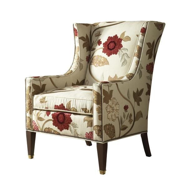 Modern English Wing Back Chair Ivory With Red Floral Pattern Transitional Armchair Love This Decoration Maison Chaise Fauteuil Chaises De Salon Modernes