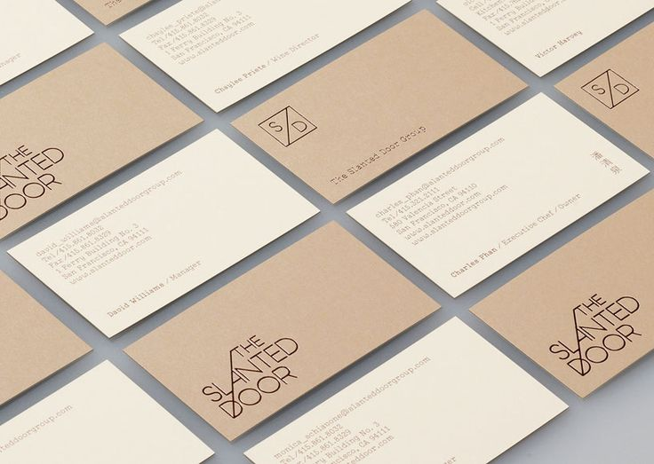 Logo and duplex business card with copper foil print finish for Vietnamese restaurant The Slanted Door designed by Manual