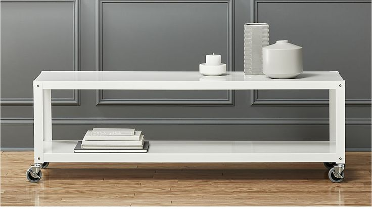 """go-cart white rolling tv stand/coffee table 