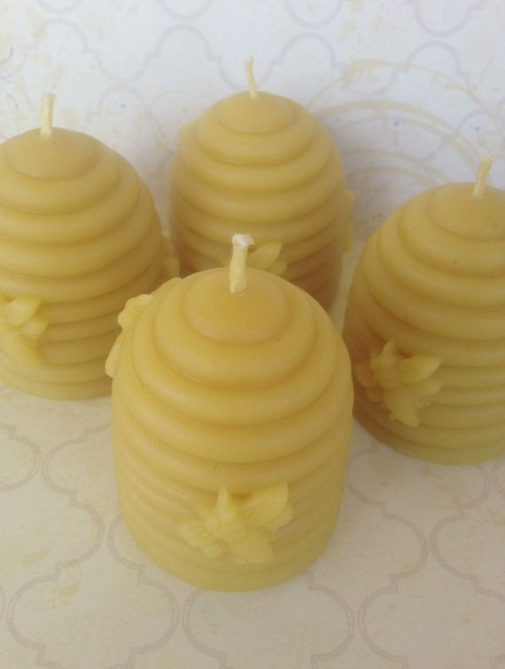 Small Beehive Pillar Candle 100 Pure Natural by WillowandPeacock, $7.95