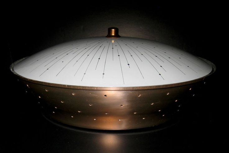 Vtg Mid Century Ceiling Flush Mount 2 Bulb Light Fixture