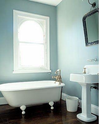 Dusty Blue Walls White Trim Clawfoot Tub Dark Wood Floors
