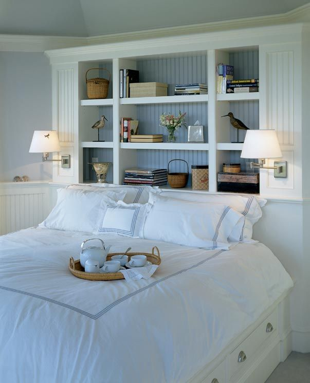 Reading lights; love blue + white palette; headboard cubbies (lose the shore birds); built-in bed w/drawers; bead board wainscoting; silver accents; Frette sheets