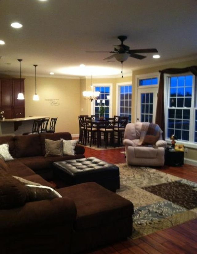 Open Living Room Amp Kitchen Anchor Spaces With Area Rugs