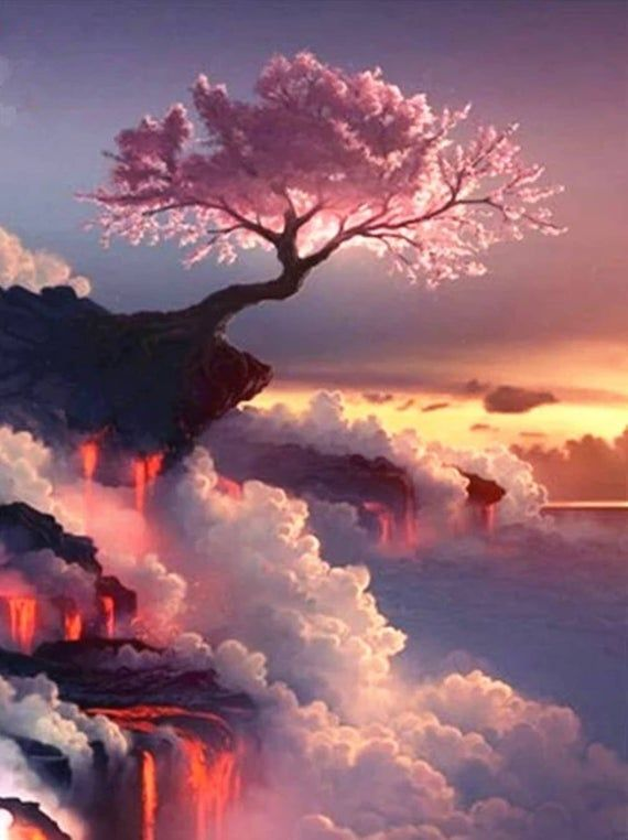 Paint By Number Kit Cherry Blossom Tree On Volcano With Flowing Lava Diy Fast Shipping By Ourpaintadd Picture Tree Landscape Paintings Nature Photography