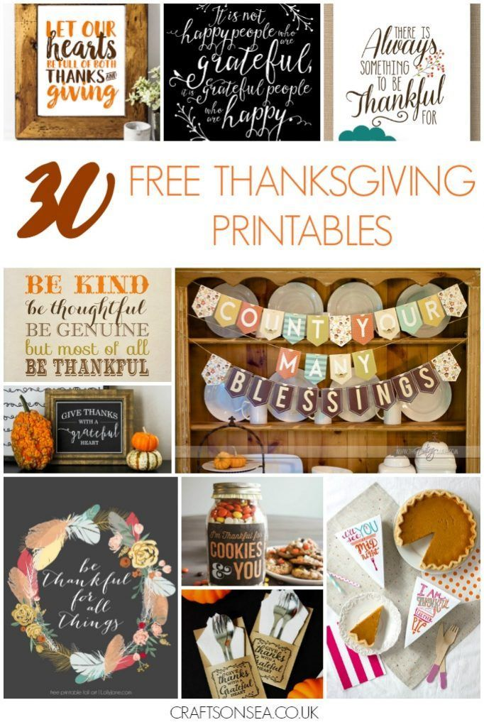 30 Totally free Thanksgiving printables ready for you to download including Thanksgiving invitations, pictures, banners, recipe cards and gift tags.