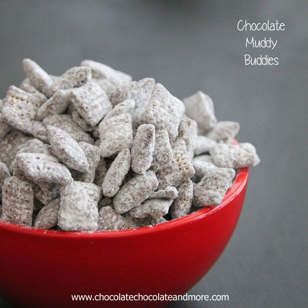 Chocolate Muddy Buddies (also called Puppy Chow) great to serve as parties or as a snack!