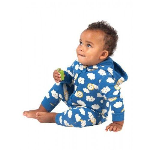 Frugi Gemütlicher Baby-Sweat-Overall Sonne und Wolken