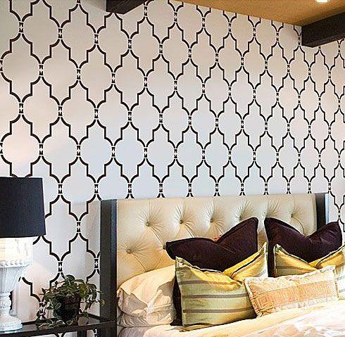 Wall stencil marrakech trellis short reusable stencils for diy decor