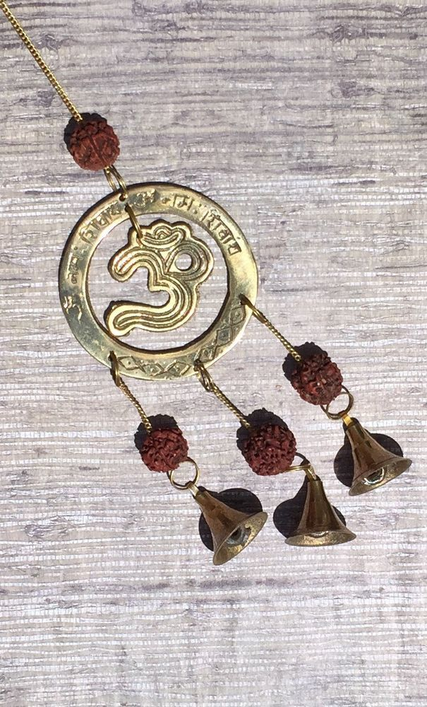 """Brass Bell Chime OM with Rudraksha Hinduism 10 5"""" x 2 75 """" Made in India 