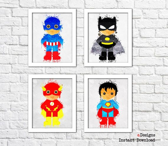 Printable Kids Superhero PosterPrintable Watercolor by eDesignss