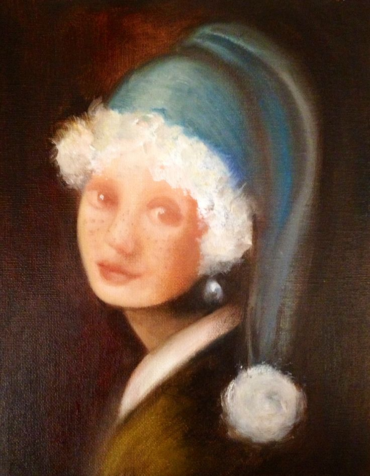 Girl with pearl earring and freckles, after Vermeer. My 2013 Christmas card