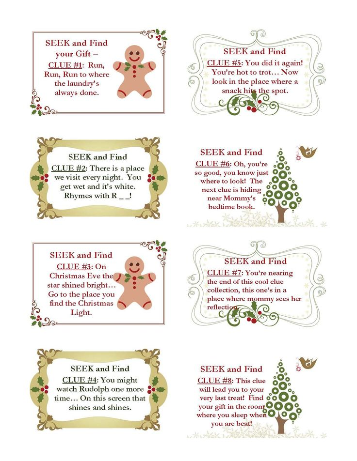 Christmas Scavenger Hunt Clues (for the younger one)some good for other occasions) - rhyming