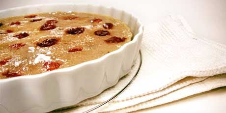 This recipe is essentially a French cherry clafouti, a cross between cake and crepe!