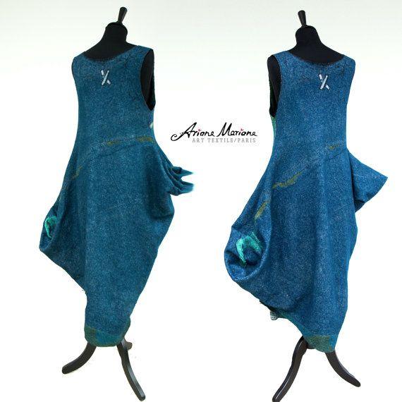 Reversible Wearable Art Dress Merino Wool Silk by ArianeMariane